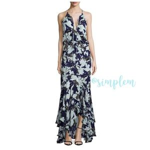 Parker Blue Print Asymmetric Maxi Dress Small B40